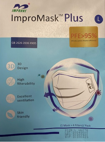 REUSABLE FACE MASK, WHITE, LARGE, WITH 4 FILTERS, 80/CS